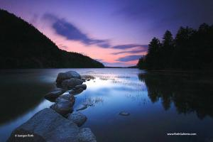 Sunset Nature Photography at Echo Lake in Maine Acadia National Park