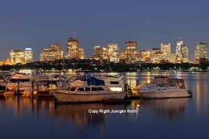 Beacon Hill and Boston Skyline Night Photography