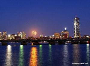Super Moon over Boston Skyline